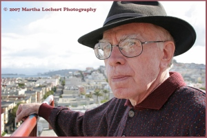 Cartoonist Louis Dunn on top of the San Francisco Art Institute